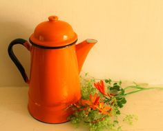 Vintage Orange Enamel Coffee Pot by uniqueenamel on Etsy