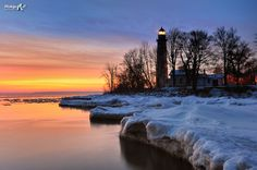 Winter sunrise at Point Aux Barques Lighthouse
