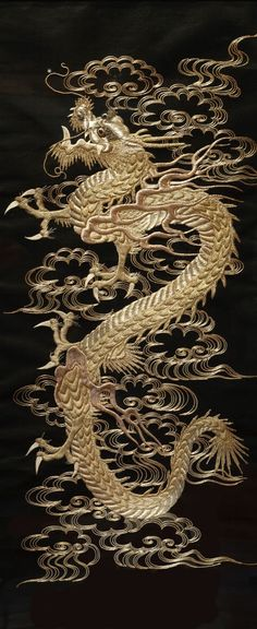 darksilenceinsuburbia:  Dragon Scroll Silk and silver thread embroidery, Japanese. 1868-1912.   Via