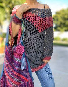 Crochet Poncho, Crochet Top, Crochet Summer, Crochet Granny, Festival Wear, Festival Outfits, Summer Headbands, Rainbow Sweater, Boho Headband