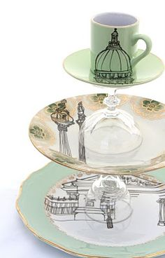 cake stand.... I like this idea. You can use plates of different designs, not just the ones seen here. :)