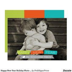 Happy New Year Holiday Photo Card Full Bleed Photo
