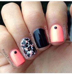 Coral black & white nail design