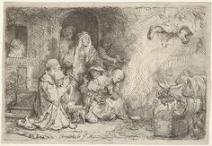 The Angel Leaving the Family of Tobias Rembrandt (Rembrandt van Rijn)  (Dutch, Leiden 1606–1669 Amsterdam) Date: 1641 Medium: Etching Dimensions: sheet: 4 5/16 x 6 1/4 in. (10.9 x 15.8 cm) Classification: Prints Credit Line: Bequest of Phyllis Massar, 2011 Accession Number: 2012.136.463