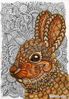 Zentangle Rabbit_bunny. Gel pen, watercolor_Viktoriya Crichton.