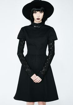 Disturbia Covenant Black Lace Sleeve Dress #witchy