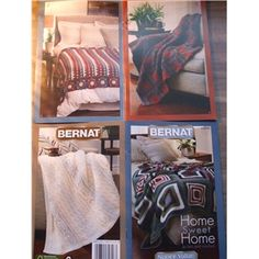 Bernat 530182 Knit and Crochet afghan patterns Home Sweet Home Super Value