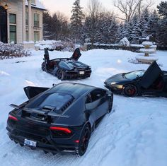 Lamborghini Centenario Roadster in fully exposed carbon fiber, a Lamborghini Aventador Super Veloce Roadster painted in Nero Nemesis and a Lamborghini Huracan Performante painted in Nero Noctis w/ Tricolore stripes along the doors Photo taken by: @tetratheg0d on Instagram All owned by: @tetratheg0d on Instagram