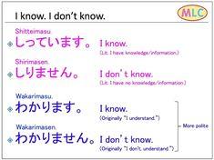 """MLC (@japanese_language_mlc) on Instagram: """"Shitteimasu. Wakarimasu."""" #japaneselessons"""