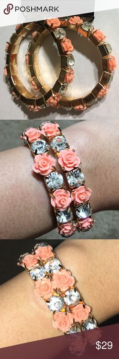 New Forever 21 rose and CZ bracelets Stretchy coral/pink rose and CZ stone gold-tone bracelets 2 pack - wear them together or separately! Bundle 3+ for 15% off, only pay shipping ONCE, and get a free gift! Forever 21 Jewelry Bracelets