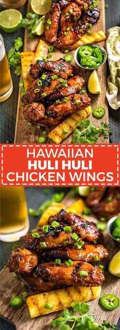 Hawaiian huli huli grilled chicken wings these island inspired grilled wings are marinated and glazed with with sweet teriyaki flavors perfect for a cookout or game day tailgate hostthetoast com healthyfoodprep Poulet Huli Huli, Huli Huli Chicken, Grilling Recipes, Meat Recipes, Dinner Recipes, Cooking Recipes, Healthy Recipes, Delicious Recipes, Kitchen
