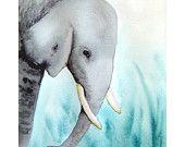 Elephant - 11x14 Signed Art Print -home decor elephant art aqua and gray home decor, elephant nusery art