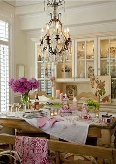 French Chic Dining Room with Gorgeous Rustic Table and Chandelier.