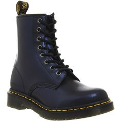 Dr. Martens 8 Eyelet Lace Up Boots ($72) ❤ liked on Polyvore featuring shoes, boots, ankle booties, dr. martens, ankle boots, navy tracer leather, women, navy blue leather boots, short heel boots and dr martens boots