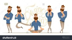 Business Man Characters. Business Mans In Casual Clothes. Emotions And Expressions Stock Vector Illustration 435684283 : Shutterstock
