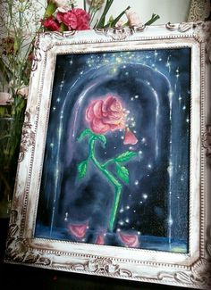 Beauty and the Beast: Enchanted Rose Oil Painting by KrishCreates