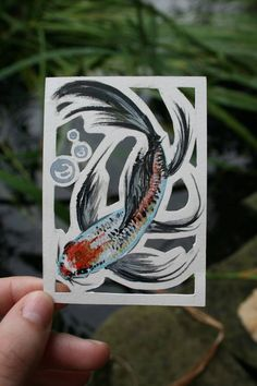 Two new fish cutout ACEOS - PAPER CRAFTS, SCRAPBOOKING & ATCs (ARTIST TRADING CARDS)