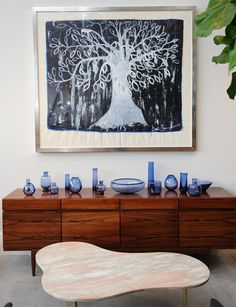 "Per Lutken (Glass pieces), Lane - After T.H.Robsjohn-Gibbings (Coffee Table), JMARY (Painting, ""Tree"")"