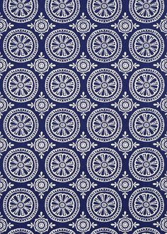 Cherre  (131072) - Harlequin Fabrics - A detailed and elegant large scale boho motif pattern, fabric design inspired by original block prints. Shown here in indigo and chalk. Other colourways are available. Please request a sample for a true colour and texture match.
