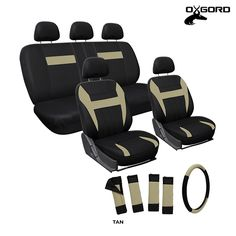 17-Piece Set: OxGord Comfort Sport Cloth Full Car Seat Covers - Assorted Colors