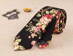 Men Retro Cotton Blend Narrow Skinny Necktie Neck Tie Floral Flower Mens Ties 31