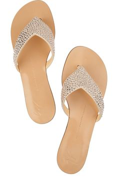 06f739d10fd30 Giuseppe Zanotti Crystal-embellished leather sandals. Love the extra pack  of glitz and glamour