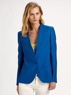 Stella McCartney boxy blazer in a perfect clear blue.