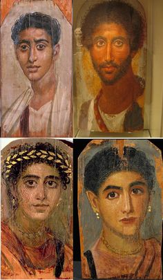 four portrait paintings from the 2nd century AD showing Mummy portraits of ancient egyptians.