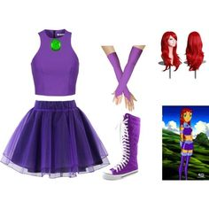 Designer Clothes, Shoes & Bags for Women Casual Cosplay, Cosplay Outfits, Easy Cosplay Costumes, Cute Disney Outfits, Cute Outfits, Starfire Costume, Teen Titans Costumes, Raven Costume, Couples Cosplay