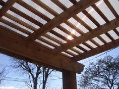 polygal roofing, wood arbor, garden