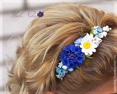 Купить Ободок с полевыми цветами - синий, голубой, ободок с цветами, ромашки, васильки, незабудки, лен