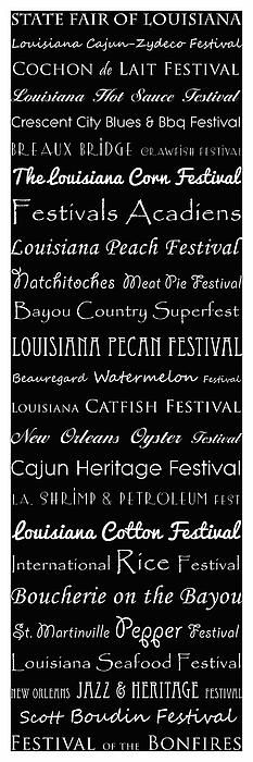 Louisiana Festivals Typography prints copyright Susan Bordelon