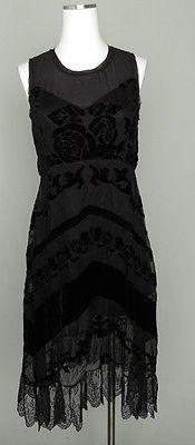Impulse Dress M Women Black Floral Sleeveless MADE Fashion Week Velvet Crochet   eBay