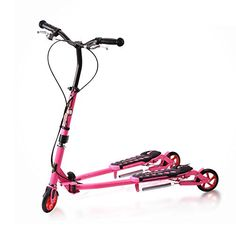 SOGAR Folding Children Kick Foot Scooter Bike in Three Wheels Push Scooter,Rose red -- Awesome products selected by Anna Churchill Scooter Bike, Kids Scooter, Third Wheel, Tricycle, Kicks, Wheels, Children, Churchill, Red