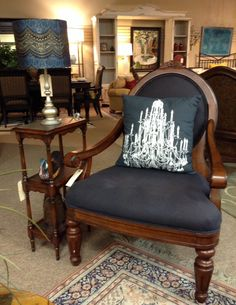 Broyhill Furniture - Black Fabric w/ Wood Accent Chair - $308.85