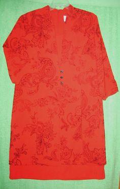 Sz 16 Just In Thyme Ltd Career Dress Red Black Flocked Floral 3/4 Sleeve Coat