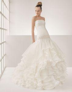 Drop Waist Strapless Brush Train White Wedding Dress h7rc0074 $304 #weddingdress #strapless #train #white #mywedding #bridal #drop #bridalgown #dress #h7rc0074 #brush #waist #wedding