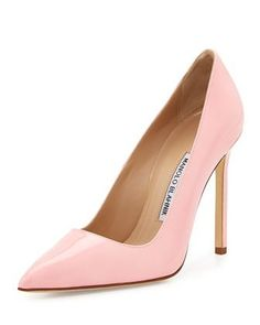 BB Patent 115mm Pump, Light Pink by Manolo Blahnik at Neiman Marcus.