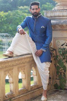 Buy Samyakk Blue Silk Soli Indo Western Sherwani online in India at best price. Wedding Dresses Men Indian, Wedding Dress Men, Wedding Wear, Mens Sherwani, Wedding Sherwani, Indian Men Fashion, Men's Fashion, Fasion, Fashion Styles