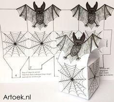 Printable voor een vleermuisdoosje #trakteren #halloween Free Printables, Om, Halloween, Prints, Paper, Free Printable, Spooky Halloween