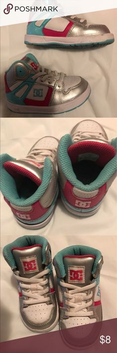 D.C. GIRLS SIZE 7W Hess have some wear but are really cute with skinny jeans or shorts in little girls DC Shoes Sneakers