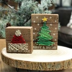 """Better Not Pout"" and ""Merry & Bright"" adorn these wood box signs. This set is..."