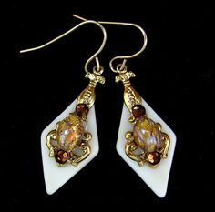 Butterscotch Stained Glass Earrings with Topaz Glass Opals and Crystals on Etsy, $15.00
