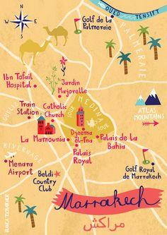 Map of Marrakech, Morocco, by Bianca Tschaikner                                                                                                                                                      More