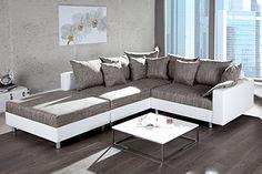 http://ift.tt/1NG8N0e Design Ecksofa mit Hocker LOFT weiss Strukturstoff grau Federkern Sofa OT beidseitig aufbaubar @qiwinity#8#