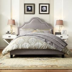 INSPIRE Q Fletcher Grey Linen Nailhead Arch Curved Upholstered King-sized Platform Bed | Overstock™ Shopping - Great Deals on INSPIRE Q Beds
