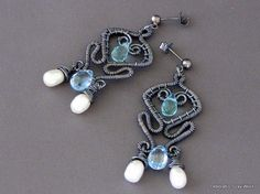 Pearl Drop Earrings with Blue Topaz by Sneekbead on Etsy, $80.00