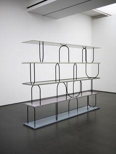 Nicole Wermers, Wasserregal (watershelf), 2011, 232 x 296 x 50 cm, powdercoated steel, water, installation view, 2011