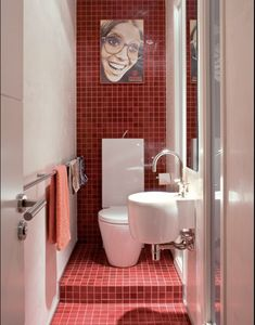 I like the space use but not the picture Bathroom Red, Small Bathroom, Toilet Tiles, Small Toilet Room, Wc Design, Wet Rooms, Bathroom Inspiration, Powder Room, Pic Nice