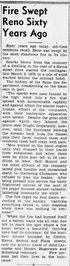 Reno Gazette-Journal, 2 Mar 1939, Thu, Main Edition  Robert Buncel's role in fighting fire in Reno in 1880's